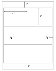 4 x 3 Rectangle <BR>White High Gloss Laser Label Sheet<BR>Wholesale Pkg. 250 sheets<BR><B>USUALLY SHIPS WITHIN 24 HRS</B>
