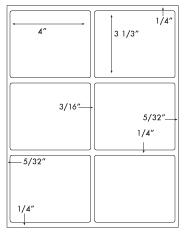 4 x 3 1/3 Rectangle w/ Gutters <BR>Standard White Uncoated Label Sheet<BR>Wholesale Pkg. 250 sheets<BR><B>USUALLY SHIPS WITHIN 24 HRS</B>