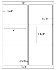 4 x 3 1/3 Rectangle <BR>Clear Gloss Laser Label Sheet<BR>Wholesale Pkg. 250 sheets<BR><B>USUALLY SHIPS WITHIN 24 HRS</B>