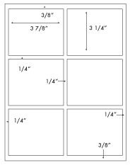 3 7/8 x 3 1/4 Rectangle w/ square corners<BR>Recycled White Label Sheet<BR>Wholesale Pkg. 250 sheets<BR><B>USUALLY SHIPS WITHIN 24 HRS</B>