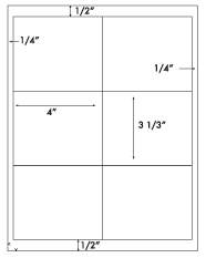 4 x 3 1/3 Rectangle w/ square corners <BR>Removable White Label Sheet<BR>Wholesale Pkg. 250 sheets<BR><B>USUALLY SHIPS WITHIN 24 HRS</B>