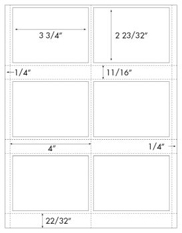 3 3/4 x 2 23/32 Rectangle (Badge Label) w/ perfs <BR>All Temperature White Label Sheet<BR>Wholesale Pkg. 250 sheets<BR><B>USUALLY SHIPS WITHIN 24 HRS</B>
