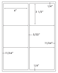 4 x 3 1/2 Rectangle<BR>Recycled White Label Sheet<BR>Wholesale Pkg. 250 sheets<BR><B>USUALLY SHIPS WITHIN 24 HRS</B>