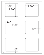 2 3/4 x 2 3/4 Square<BR>Natural Ivory Label Sheet<BR>Wholesale Pkg. 250 sheets<BR><B>USUALLY SHIPS WITHIN 3 DAYS</B>