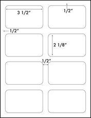3 1/2 x 2 1/8 Rectangle<BR>Water-Resistant White Polyester Label Sheet<BR><I>Laser Printers Only</I><BR>Wholesale Pkg. 250 sheets<BR><B>USUALLY SHIPS WITHIN 24 HRS</B>