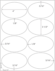 4 x 2 1/2 Oval<BR>White Opaque BLOCKOUT Printed Label Sheet<BR><B>USUALLY SHIPS IN 2-3 BUSINESS DAYS</B>
