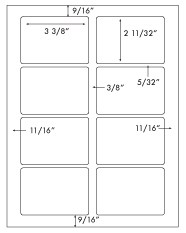 3 3/8 x 2 11/32 Rectangle <BR>Removable White Label Sheet<BR>Wholesale Pkg. 250 sheets<BR><B>USUALLY SHIPS WITHIN 24 HRS</B>