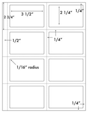 3 1/2 x 2 1/4 Rectangle (Badge) w/ perfs <BR>White High Gloss Laser Label Sheet<BR>Wholesale Pkg. 250 sheets<BR><B>USUALLY SHIPS WITHIN 24 HRS</B>