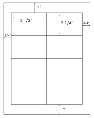 3 1/2 x 2 1/4 Rectangle <BR>White Opaque BLOCKOUT Label Sheet<BR>Wholesale Pkg. 250 sheets<BR><B>USUALLY SHIPS WITHIN 24 HRS</B>