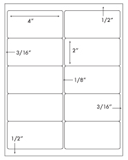 4 x 2 Rectangle <BR>Removable White Label Sheet<BR>Wholesale Pkg. 250 sheets<BR><B>USUALLY SHIPS WITHIN 24 HRS</B>