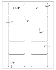 2 3/4 x 2 Rectangle <BR>All Temperature White Label Sheet<BR>Wholesale Pkg. 250 sheets<BR><B>USUALLY SHIPS WITHIN 24 HRS</B>