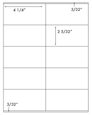 4 1/4 x 2 5/32 Rectangle <BR>Removable White Label Sheet<BR>Wholesale Pkg. 250 sheets<BR><B>USUALLY SHIPS WITHIN 24 HRS</B>