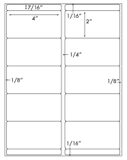 4 x 2 Rectangle w/ Bars<BR>Recycled White Label Sheet<BR>Wholesale Pkg. 250 sheets<BR><B>USUALLY SHIPS WITHIN 24 HRS</B>