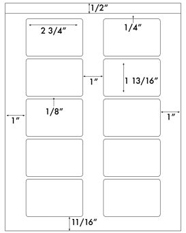 2 3/4 x 1 13/16 Rectangle<BR>Recycled White Label Sheet<BR>Wholesale Pkg. 250 sheets<BR><B>USUALLY SHIPS WITHIN 24 HRS</B>