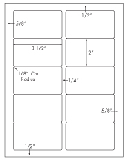 3 1/2 x 2 Rectangle<BR>Water Resistant White Polyester Label Sheet<BR><I>Laser Printers Only</I><BR>Wholesale Pkg. 250 sheets<BR><B>USUALLY SHIPS WITHIN 24 HRS</B>