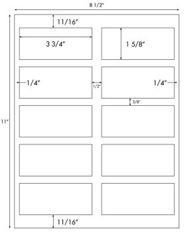 3 3/4 x 1 5/8 Rectangle<BR>White High Gloss Laser Label Sheet<BR>Wholesale Pkg. 250 sheets<BR><B>USUALLY SHIPS WITHIN 24 HRS</B>