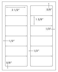 3 1/2 x 1 5/8 Rectangle <BR>All Temperature White Label Sheet<BR>Wholesale Pkg. 250 sheets<BR><B>USUALLY SHIPS WITHIN 24 HRS</B>