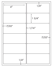 4 x 1 3/4 Rectangle <BR>Recycled White Label Sheet<BR>Wholesale Pkg. 250 sheets<BR><B>USUALLY SHIPS WITHIN 24 HRS</B>