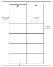 3 x 1 3/4 Rectangle <BR>Recycled White Label Sheet<BR>Wholesale Pkg. 250 sheets<BR><B>USUALLY SHIPS WITHIN 24 HRS</B>