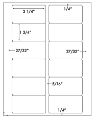 3 1/4 x 1 3/4 Rectangle <BR>White Opaque BLOCKOUT Printed Label Sheet<BR><B>USUALLY SHIPS IN 2-3 BUSINESS DAYS</B>