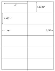 4 x 1.833 Rectangle <BR>White High Gloss Laser Label Sheet<BR>Wholesale Pkg. 250 sheets<BR><B>USUALLY SHIPS WITHIN 24 HRS</B>