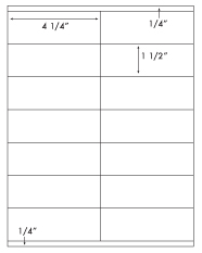 4 1/4 x 1 1/2 Rectangle<BR>White High Gloss Laser Label Sheet<BR>Wholesale Pkg. 250 sheets<BR><B>USUALLY SHIPS WITHIN 24 HRS</B>
