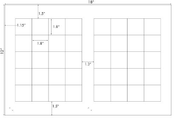 1.8 x 1.8 Rectangle<BR>White High Gloss Label Sheet<BR>Wholesale Pkg. 250 sheets<BR><B>USUALLY SHIPS IN 24-48 HRS</B>