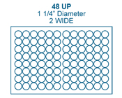 1 1/4&#34; Diameter Round<BR>Clear Gloss Polyester Label Sheet<BR>Wholesale Pkg. 250 sheets<BR><B>USUALLY SHIPS IN 24-48 HRS</B>