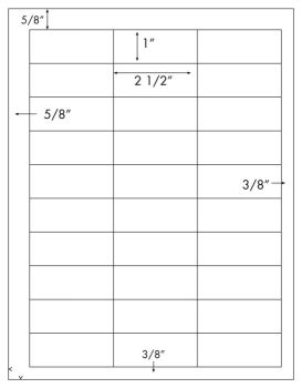 2 1/2 x 1 Rectangle<BR>White High Gloss Laser Label Sheet<BR>Wholesale Pkg. 250 sheets<BR><B>USUALLY SHIPS WITHIN 24 HRS</B>