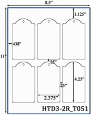 2.375 x 4.25 Dome-top Rectangle w/ pre-drilled 3/16 hole<BR>White Custom Printed Micro-nikked Hang Tag Sheet<BR><B>USUALLY SHIPS IN 2-3 BUSINESS DAYS</B>