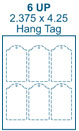 2.375 x 4.25 Dome-top Rectangle w/ pre-drilled 3/16 hole<BR>White High Gloss Micro-nikked Hang Tag Sheet<BR>Wholesale Pkg. 250 sheets<BR><B>USUALLY SHIPS WITHIN 24 HRS</B>