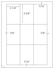 2 1/4 x 3 3/8 Rectangle<BR>Removable White Label Sheet<BR>Wholesale Pkg. 250 sheets<BR><B>USUALLY SHIPS WITHIN 24 HRS</B>