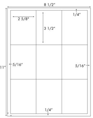 2 5/8 x 3 1/2 Rectangle<BR>White High Gloss Laser Label Sheet<BR>Wholesale Pkg. 250 sheets<BR><B>USUALLY SHIPS WITHIN 24 HRS</B>