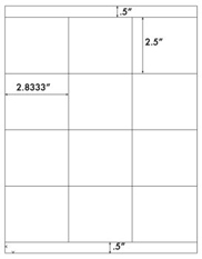 2.8333 x 2 1/2 Rectangle<BR>Clear Gloss Laser Label Sheet<BR>Wholesale Pkg. 250 sheets<BR><B>USUALLY SHIPS WITHIN 24 HRS</B>