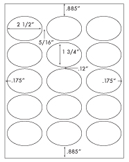 2 1/2 x 1 3/4 Oval<BR>White High Gloss Printed Label Sheet<BR><B>USUALLY SHIPS IN 2-3 BUSINESS DAYS</B>