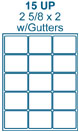 2 5/8 x 2 Rectangle w/ Gutters<BR>White High Gloss Laser Label Sheet<BR>Wholesale Pkg. 250 sheets<BR><B>USUALLY SHIPS WITHIN 24 HRS</B>