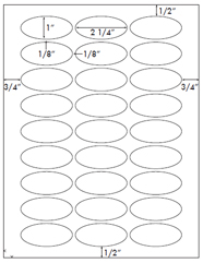 2 1/4 x 1 Oval<BR>Removable White Printed Label Sheet<BR><B>USUALLY SHIPS IN 2-3 BUSINESS DAYS</B>