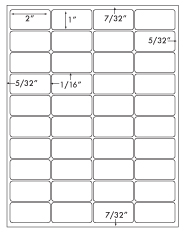 2 x 1 Rectangle w/ Vert & Horz Gutters<BR>Recycled White Printed Label Sheet<BR><B>USUALLY SHIPS IN 2-3 BUSINESS DAYS</B>