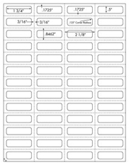 1 3/4 x 1/2 Rectangle w/ perfs<BR>All Temperature White Label Sheet<BR>Wholesale Pkg. 250 sheets<BR><B>USUALLY SHIPS WITHIN 24 HRS</B>