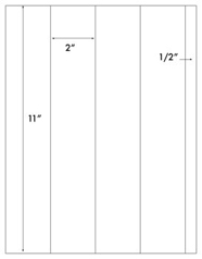 2 x 11 Rectangle <BR>Recycled White Label Sheet<BR>Wholesale Pkg. 250 sheets<BR><B>USUALLY SHIPS WITHIN 24 HRS</B>