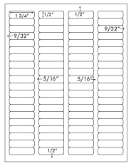 1 3/4 x 1/2 Rectangle <BR>Standard Uncoated White Printed Label Sheet<BR><B>USUALLY SHIPS IN 2-3 BUSINESS DAYS</B>