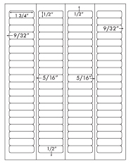 1 3/4 x 1/2 Rectangle w/ Vertical Perforations <BR>Recycled White Label Sheet<BR>Wholesale Pkg. 250 sheets<BR><B>USUALLY SHIPS WITHIN 24 HRS</B>