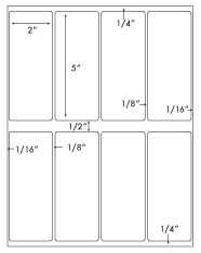 2 x 5 Rectangle <BR>Removable White Label Sheet<BR>Wholesale Pkg. 250 sheets<BR><B>USUALLY SHIPS WITHIN 24 HRS</B>