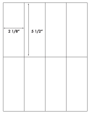 2 1/8 x 5 1/2 Rectangle <BR>White High Gloss Laser Label Sheet<BR>Wholesale Pkg. 250 sheets<BR><B>USUALLY SHIPS WITHIN 24 HRS</B>