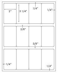 2 x 3 1/4 Rectangle<BR>Recycled White Label Sheet<BR>Wholesale Pkg. 250 sheets<BR><B>USUALLY SHIPS WITHIN 24 HRS</B>