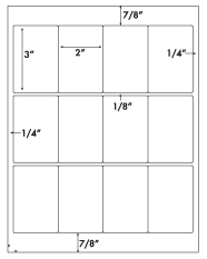 2 x 3 Rectangle<BR>White High Gloss Printed Label Sheet<BR><B>USUALLY SHIPS IN 2-3 BUSINESS DAYS</B>