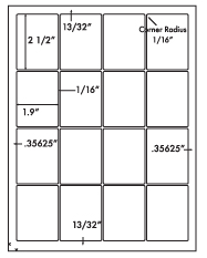 1.9 x 2.5 Rectangle<BR>Natural Ivory Printed Label Sheet<BR><B>USUALLY SHIPS IN 2-3 BUSINESS DAYS</B>