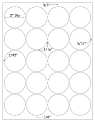 2 Diameter Round Circle<BR>White Opaque BLOCKOUT Printed Label Sheet<BR><B>USUALLY SHIPS IN 2-3 BUSINESS DAYS</B>