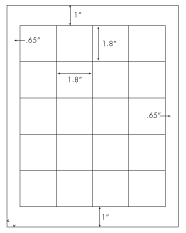 1.8 x 1.8 Rectangle<BR>Brown Kraft Printed Label Sheet<BR><B>USUALLY SHIPS IN 2-3 BUSINESS DAYS</B>