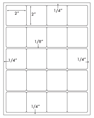 2 x 2 Square<BR>White High Gloss Laser Label Sheet<BR>Wholesale Pkg. 250 sheets<BR><B>USUALLY SHIPS WITHIN 24 HRS</B>
